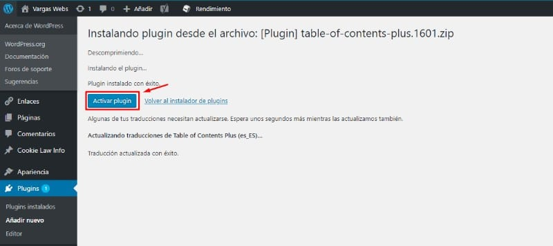 cms wordpress vargas webs activar plugin