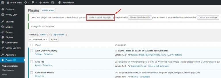 cms wordpress vargas webs vaciar caché tras activar plugin