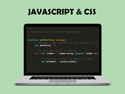 ordenador portátil con código javascript js