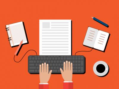 copywriting teclado hoja, agenda y cuaderno sobre fondo rojo