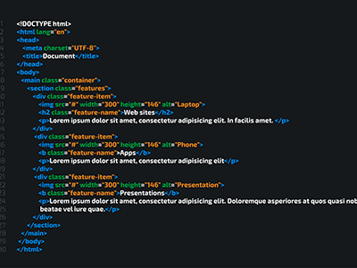 código html5 sobre fondo negro