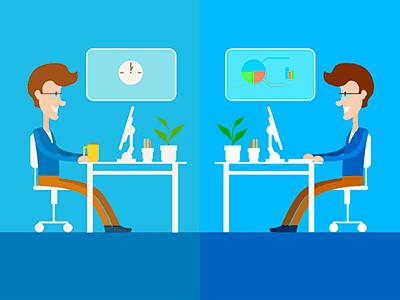 2 personas iguales trabajando en diferentes lugares